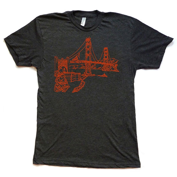 ADULT TEE GOLDEN GATE BRIDGE CHARCOAL